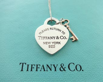 "Authentic Tiffany & Co. Please Return to Tiffany Sterling Silver Heart and Rubedo Key Pendant Necklace, 18"" Tiffany chain"