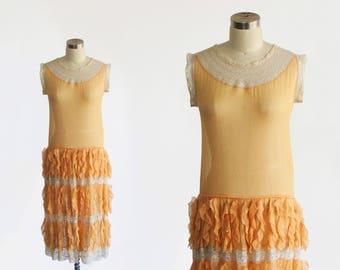 vintage RARE 1920s silk chiffon lace dress / antique art deco sheer ruffle drop waist slip / cream flapper great gatsby day dress / xs s