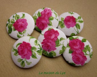 6 pink vintage 32mm fabric covered buttons
