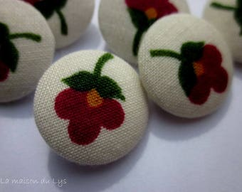 Set of 6 fabric covered buttons, 22mm red flowers