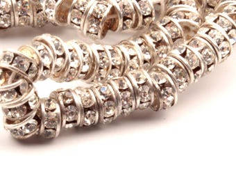 Lot (144) 5x3mm vintage silver tone metal mounted crystal rhinestone rondelle beads 1942-24