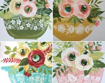 CUSTOM Flowers and Pyrex - kitchen art - farmhouse decor - hand painted canvas panel