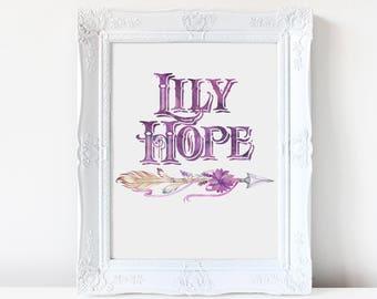 PERSONALIZED Bohemian Custom Name Artwork Digital Print Watercolor Feather Arrow Ribbon Nursery Baby Shower Little Girl Lavender Purple Mint