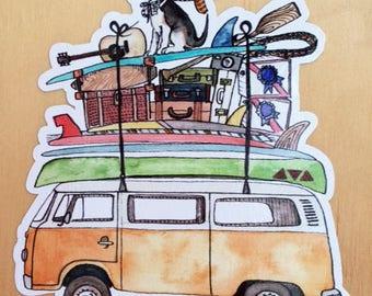 Watercolor VW Bus Sticker