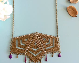 """Necklace """"Mabyn"""" grey/pink and bronze"""