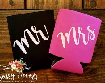 Mr & Mrs can coolers SET!