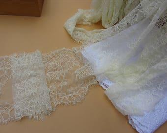 Cream Chantilly Lace trim,3yards ivory eyelash lace fabric Bilateral Eyelash Lace, ivory Wedding Dress lace