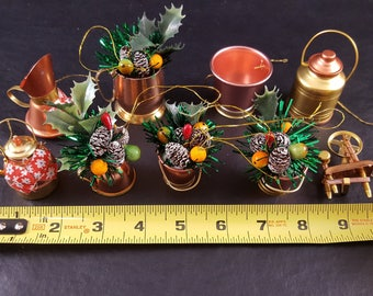 Set of Vintage Copper/Brass Look Tin Mini Christmas Ornaments