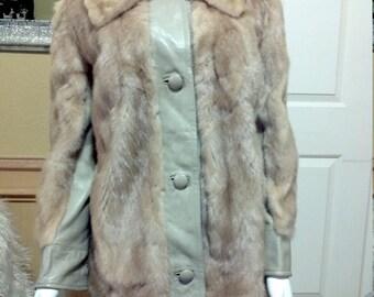 Golden Brown Mink Coat Leather Fur Jacket By Robinsons  California, à carreaux coat   vintage 1970s mink fur coat   leather and fur 70s coat
