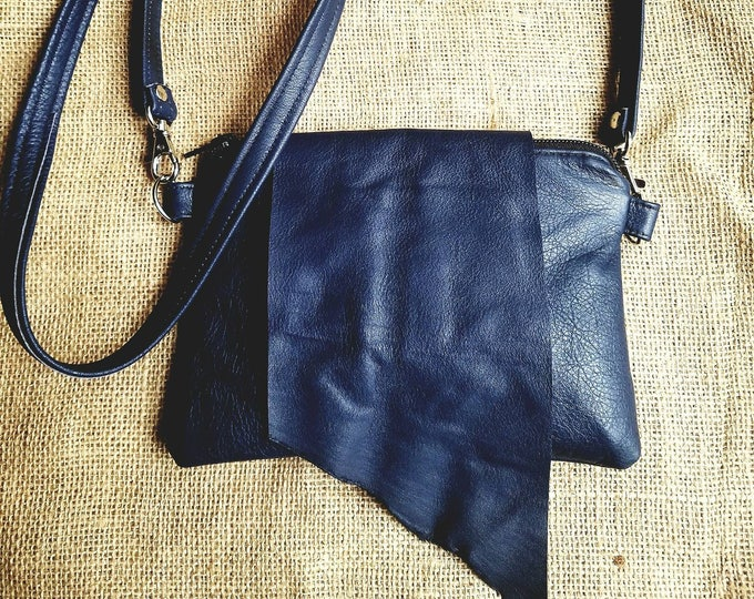 Leather Cross Body Pouch in Navy Blue