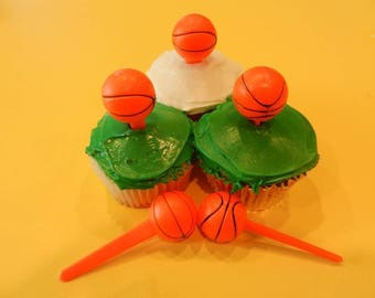 12 Basketball 3D Picks Cupcake Toppers Party Favors