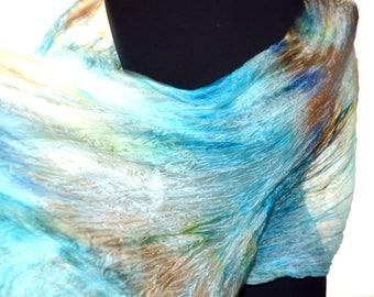 blue brown silk scarf handpainted Silk scarf handpainted