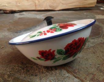 Vintage ENAMELWARE pot Floral pattern - Antique turren pot Bowl with floral BUMPER HARVEST enamel