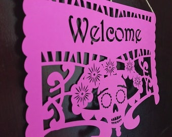Welcome Sign for Apartment Door - Papel Picado Style