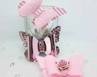 Handmade pink butterfly hair clip set - hair slide set - fringe clips - toddler hair slides - party hair clips - pink butterfly hair clip