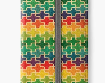 Folio Wallet Case for iPhone 8 Plus, iPhone 8, iPhone 7, iPhone 6 Plus, iPhone SE, iPhone 6, iPhone 5s - Rainbow Geometric Design