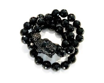 black triple buddha bracelet set