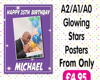 Personalised Photo Birthday Christening baptism Party Gloss Posters Any Age, Any Name, Any Event A006