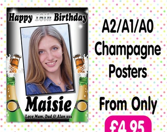 Personalised Photo Birthday Christening baptism Party Gloss Champagne Posters Any Age, Any Name, Any Event A010