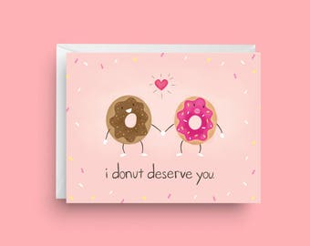 Funny Valentine's Day Card, Funny Donut Card, Card For Girlfriend, Funny Love Card, Card for Her