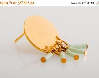 SUMMER SALE 20% OFF Bohemian  mint Circle Post Earrings ,minimalist gold earrings , bridesmaid gift jewelry, bridal earrings