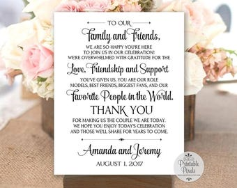 Thank You Note Printable Wedding Sign, Black Lettering, Personalized with Names and Date (#TY1B)