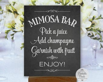 Printable Mimosa Bar Sign, Chalkboard Style, Brunch, Wedding, Party, Shower (#MS12C)