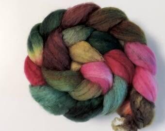 BFL sw Nylon,Moosbeere, handgefärbte Fasern zum Spinnen,100g Kammzug, Sock Blend