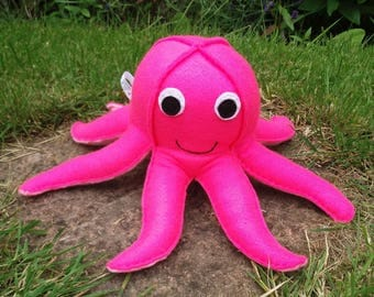Octopus, Toy Octopus, Felt Animals, CE Tested, Childrens Toy, Pink, Squid, Baby Shower, Sea Animals, Felt Toys, Nursery Decoration