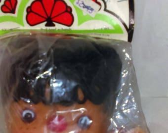 Ethnic 4 Inch Doll Head, Dark Skin, Dark Hair, Brown Eyed Doll Head