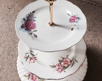 Vintage 3 tier cake stand floral wedding / birthday / christening / party / mothersday
