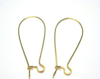 50% OFF Clearance Sale-- Gold Plated Kidney Ear wires 36mm 21Gauge (No.193)