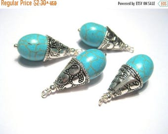 50% OFF Clearance Sale-- Turquoise Teardrop Gemstone Pendant With Antique Silver Cone Cap