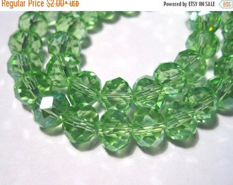 50% OFF Clearance Sale-- Green Faceted Rondelle Glass Crystal Beads 8x6mm ( No. GR8)
