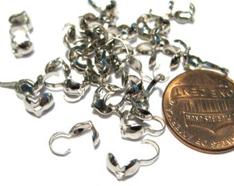 Silver Tone Bead Tip Knot Cover ClamShell Bead Tips 8x4mm