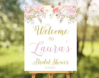 Printable Bridal Shower Welcome Sign, Bridal Shower Decoration, DIY Bridal shower Sign, Personalize Name & Custom Color, Laura Collection