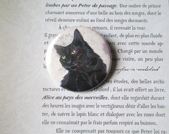 badge brooch black cat
