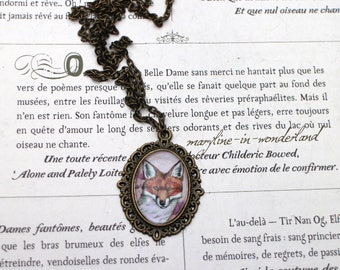 Fox bronze glass Cabochon necklace