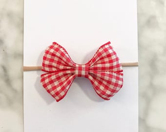 ROSE- Red Checkered Bow