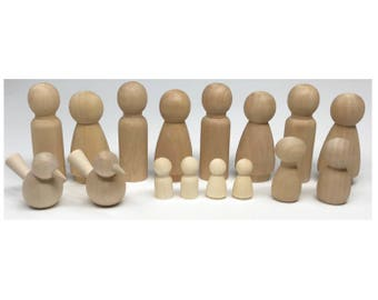 16 Wood Peg People with Birds. Variety of Wooden Figures. SALE