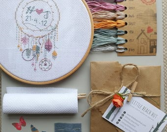 Dream catcher cross stitch kit, wedding cross stitch, dream catcher gift, personalised, cross stitch, embroidery dream catcher, dreamcatcher