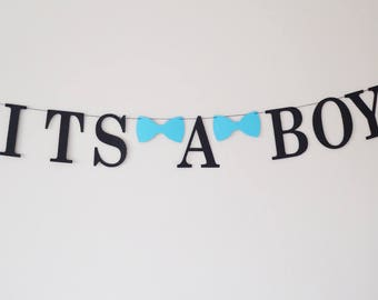 It's a boy garland banner bow tie baby shower decoration