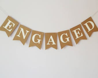 Engaged bunting, engagement bunting, engaged banner, boho, bustic, neutral