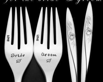 Stamped Forks Bride Groom Wedding Silverware Something Old Engraved Vintage Flatware Engagement Wedding Gift Mornign Rose