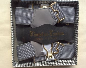 Vintage mens sock suspenders, Grey, Boxed. Thurston London.