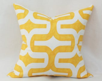 Yellow & white decorative throw pillow cover. 18x18 pillow cover yellow white Golden yellow Canary yellow 18x18 cushion Modern pillow