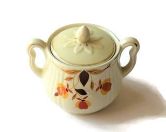 Hall's Superior Jewel Tea lidded sugar bowl with handles, Autumn Leaf rayed sugar bowl, mid-century dishware, cottage décor, farmhouse décor