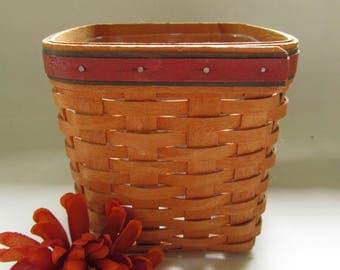 Longaberger Basket With Plastic Liner 1994; Hand Made Basket, Maple Basket, Maple Wood Basket, Vintage Basket