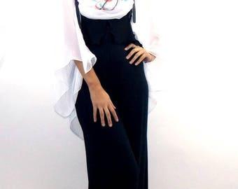 ON SALE Teyxo Black Jumpsuit / Wide Large Jumpsuit TJ08