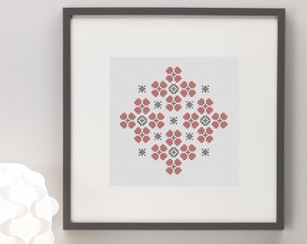 Geometric Flowers Cross Stitch Pattern, Instant Download, Modern, Simple, Pretty